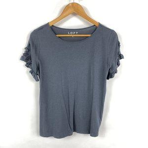 Ann Taylor LOFT Gray Short Sleeve Ruffle Tee 3611